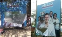 Publicidad destrozada de la campaña de 'El Mello'.