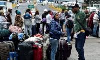 Emigrantes venezolanos en la frontera de Colombia con Ecuador.
