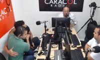 Ramiro Romero y Fabio Fernández, líderes juveniles de Fuerza Ciudadana y Magdalena Gana, respectivamente, en Radio Galeón de Caracol.