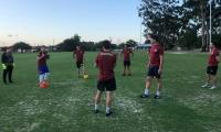 Jugadores de Colombia, durante el entrenamiento