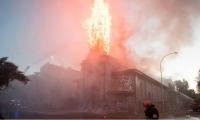 Una de las iglesias incineradas en Chile.