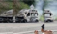 El incendio de la ambulancia ocurrió el pasado 22 de julio en el kilómetro ocho, sobre la vía Plato - Nueva Granada.