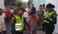 Momento en que Miriam Trinidad Medina fue capturada por la Policía.