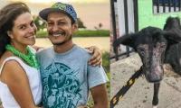 Nathalia y Rodrigo Monsalve y una de las mascotas que dejaron