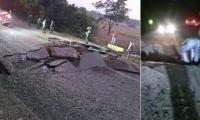 Así quedó la vía luego de la detonación de los explosivos.