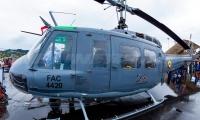 Helicóptero Bell UH-1H Huey II (205) de Fuerza Aérea, accidentado este jueves.