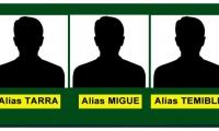 Cartel con los alias de los presuntos responsables del triple homicidio.