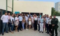 Los estudiantes de derecho acompañados por la secretaria de Seguridad, Sandra Vallejos.