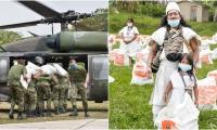 El segundo día de entrega de mercados solidarios por parte de la Gobernación en la Sierra Nevada contó con el apoyo del Ejército