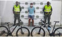 Las dos bicicletas hurtadas, marca Optimus Tucana, las cuales tienen un valor de 5 millones de pesos.