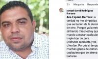Desde la cuenta de Ismael David Rodríguez salieron las amenazas para los seguidores de Genor Bolaño.