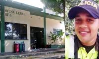 El cuerpo del patrullero Manuel David Torres Silva fue llevado a Medicina Legal.