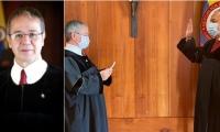 En la imagen izquierda el Magistrado Luis Antonio Hernández, nuevo presidente de la Corte Suprema. En la otra foto toma juramento al Vicepresidente Aroldo Quiroz.