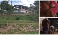 A la izquierda, la casa campestre en donde ocurrió la masacre en la madrugada de este domingo.