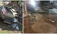 El jueves pasado, un camión de la Essmar quedó atorado en medio de las aguas de alcantarilla en Gaira.