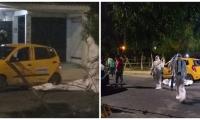 Momentos del levantamiento del cadáver tras el doble homicidio.