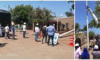 Este jueves se realizó la instalación del primer poste en Puebloviejo.