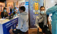 Vacunación contra el covid-19 a personal de fútbol en Uruguay.