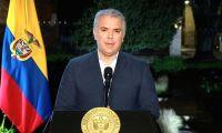Iván Duque, presidente de la República, durante la alocución presidencial..