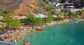 Playa de Taganga, ilustración.