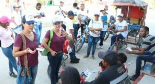 Liane Saumet y Beatriz Polo, aspirantes a la Cámara por partido Centro Democrático, lista encabezada por el también aspirante Rubén Jiménez, recorrieron los municipios de Ciénega, Fundación y Algarrobo.