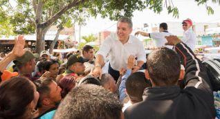 Iván Duque durante una manifestación en el municipio de Ciénaga