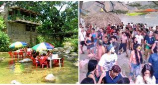 Sector del río en Minca (izq) y una de los famosos bacanales en Taganga (der)