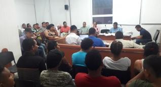 Aspecto de la audiencia de legalización de captura a los 24 miembros de la banda 'Los Pachencas'.