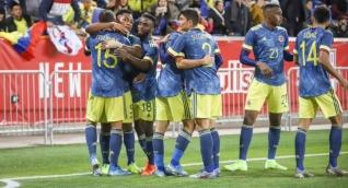 Celebración del gol de Colombia.