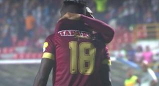 Marco Pérez celebrando el gol del triunfo ante Unión Magdalena.
