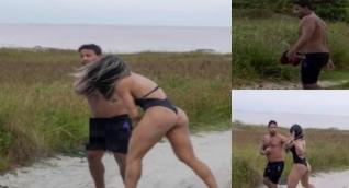 Luchadora le propina severa paliza a un acosador.