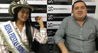 Cristal Fontalvo, Reina de las Fiestas Patronales de Aracataca y Wilson Hernández, presidente de las fiestas.