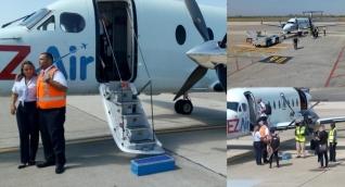 La Vicepresidenta de EZAir en la salida del primer vuelo Barranquilla-Curazao.