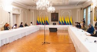 Durante dos horas, junto con el Alto Comisionado para la Paz, Miguel Ceballos, y otros altos funcionarios del Gobierno Nacional, el Presidente Iván Duque escuchó los planteamientos de los integrantes del Consejo Nacional de Paz.