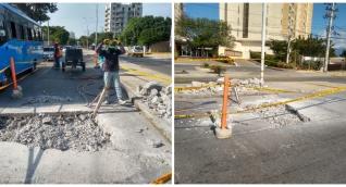 Obreros trabajaron desde este viernes en la tarde en la reparación del hueco en el Mayor.