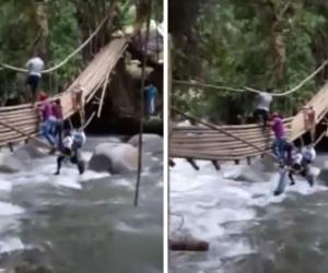 Accidente en puente colgante