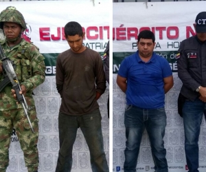 Los capturados Juan Carlos Pava Robles y Federico Salas Fontalvo.