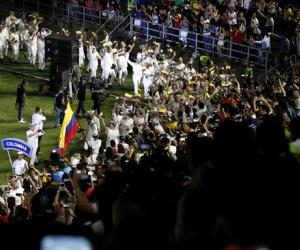 Delegación colombiana, durante el desfile de inauguración de los Bolivarianos.