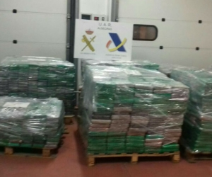 Los narcóticos se encontraban ocultos en cajas de banano dentro de un contenedor que fue enviado desde el puerto de Turbo (Colombia).