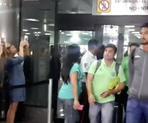 Jugadores de Chapecoense a su llegada a Venezuela.