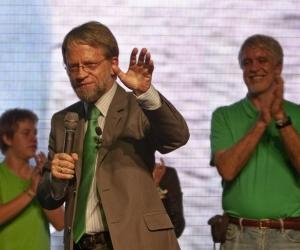 Antanas Mockus durante el cierre de su campaña presidencial en 2010.