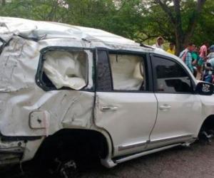 Así quedó el vehículo de Martín Elías tras el accidente de tránsito ocurrido en la vía San Onofre-Tolú Viejo.