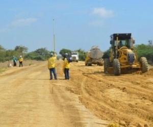 Aspecto de la construcción de la vía de la Prosperidad.