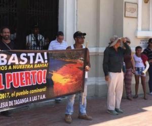Manifestantes durante su protesta el pasado sábado.