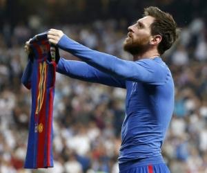 Lionel Messi celebra el gol del triunfo del Barcelona.