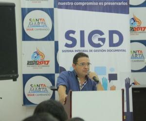 Alcalde de Santa Marta Rafael Martínez durante el evento del lanzamiento del Sistema.