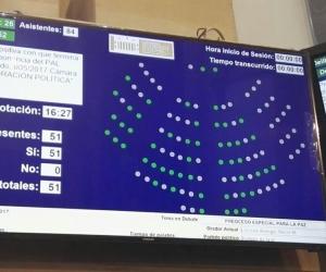 El Senado colombiano aprobó hoy en último debate el acto legislativo de reincorporación política de las FARC
