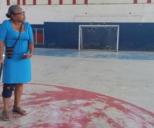 Lourdes Rodríguez Oyola, en días previos a que la desalojaran del Coliseo Menor.