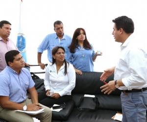 El ministro Jorge Rojas acompañado del gabinete departamental en el Palacio Tayrona.
