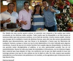 Patricia Acosta dejó un mensaje en redes sociales para aclarar el tema de los audios en que acusa a la Dayana Jaimes de la muerte de su hijo.